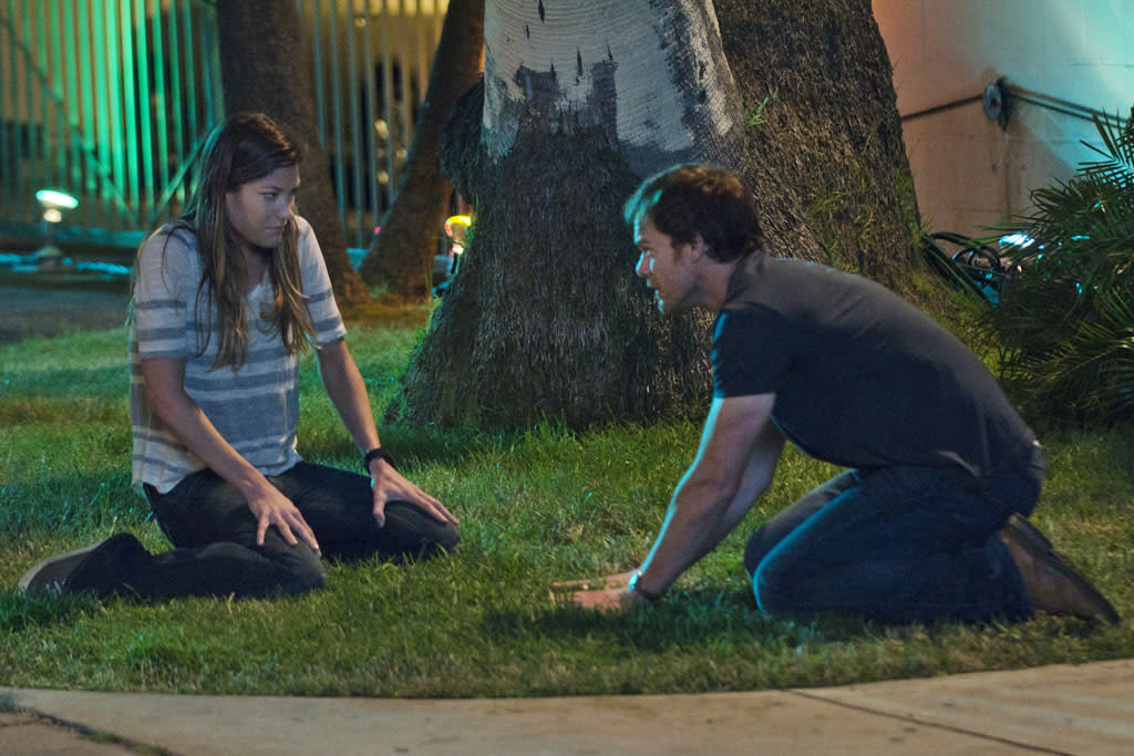 "Jennifer Carpenter as Debora Morgan and Michael C. Hall as Dexter Morgan in the ""Dexter"" episode, ""Sunshine and Frosty Swirl."""