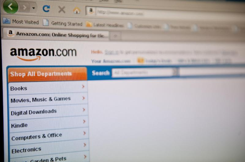 The Amazon homepage appears on a screen in Washington DC on September 3, 2010