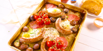 """<p>Nothing quite beats a <a href=""""https://www.delish.com/uk/cooking/recipes/a29360977/full-english-breakfast/"""" rel=""""nofollow noopener"""" target=""""_blank"""" data-ylk=""""slk:Full English"""" class=""""link rapid-noclick-resp"""">Full English</a> on a lazy weekend morning, right? And this traybake is a super-easy way to whack out a brekkie for four with minimal fuss, and minimal mess. </p><p>Get the <a href=""""https://www.delish.com/uk/cooking/recipes/a29577587/english-breakfast-traybake/"""" rel=""""nofollow noopener"""" target=""""_blank"""" data-ylk=""""slk:English Breakfast Traybake"""" class=""""link rapid-noclick-resp"""">English Breakfast Traybake</a> recipe. </p>"""