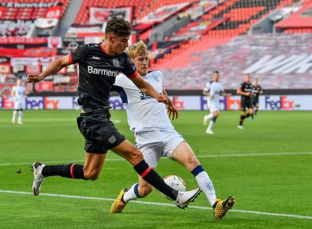 Bayer Leverkusen's Kai Havertz (left) has been linked with Chelsea (Martin Meissner/PA)