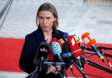 EU foreign policy chief Mogherini briefs the media during a EU foreign ministers meeting in Brussels