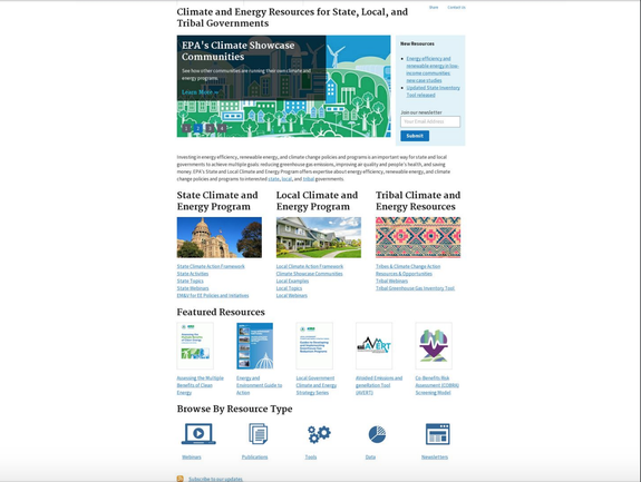 Original version of the climate and energy resources page.