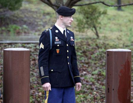 FILE PHOTO: U.S. Army Sergeant Bowe Bergdahl leaves the courthouse after an arraignment hearing for his court-martial in Fort Bragg, North Carolina, U.S., December 22, 2015.  REUTERS/Jonathan Drake/File Photo