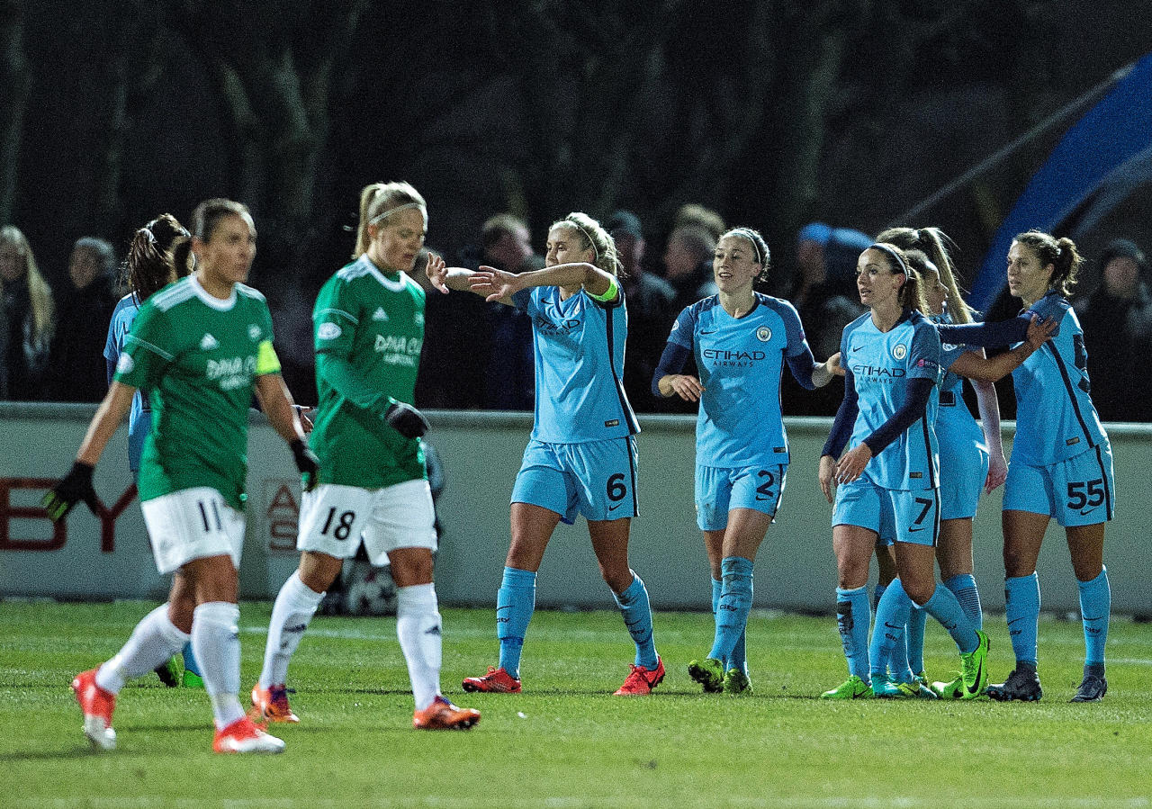 Football Soccer - Fortuna Hjorring v Manchester City - UEFA Women's Champions League 1st Quarterfinal Match - Hjorring, Denmark - 23/3/17 Players from Manchester City celebrate after scoring against Fortuna Hjorring. Scanpix Denmark/Henning Bagger/via REUTERS ATTENTION EDITORS - THIS IMAGE WAS PROVIDED BY A THIRD PARTY. FOR EDITORIAL USE ONLY. NOT FOR SALE FOR MARKETING OR ADVERTISING CAMPAIGNS. DENMARK OUT. NO COMMERCIAL OR EDITORIAL SALES IN DENMARK. NO COMMERCIAL SALES.