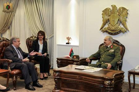 FILE PHOTO: Secretary General of the United Nations Antonio Guterres meets with Libyan military commander Khalifa Haftar in Benghazi, Libya April 5, 2019. Media office of the Libyan Army/Handout via REUTERS