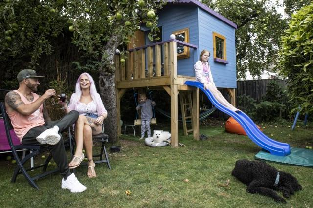 These pictures show a family of four who paid £500 to spent the night in a PLAYHOUSE - that was posted on Airbnb as a joke