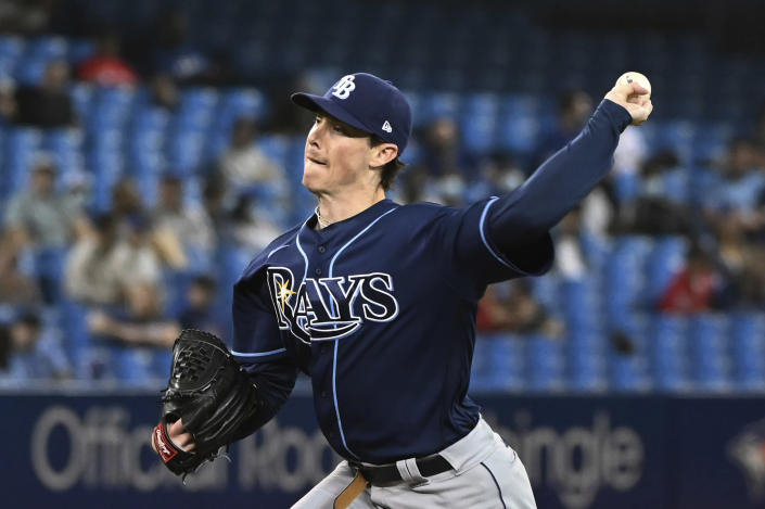 Tampa Bay Rays' Ryan Yarbrough pitches in the fourth inning of a baseball game against the Toronto Blue Jays in Toronto on Monday, Sept. 13, 2021. (Jon Blacker/The Canadian Press via AP)