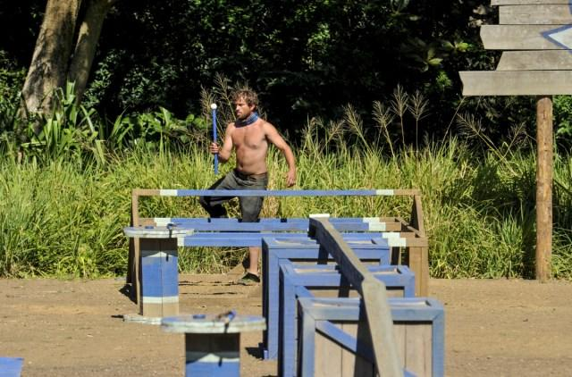 JT Thomas competes in challenge for Nuku tribe on Survivor: Game Changers