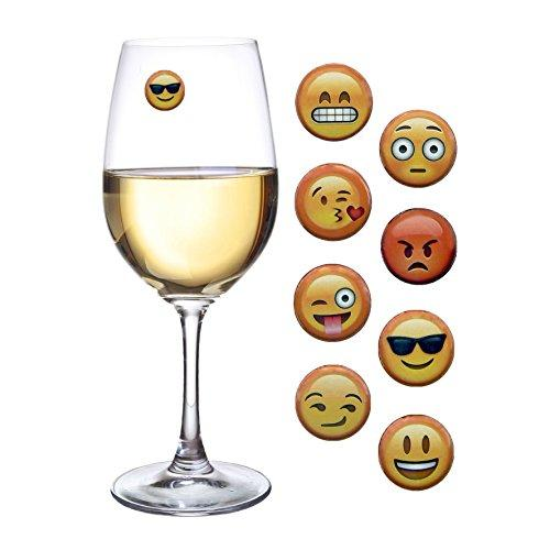 Emoji Wine Charms Magnetic Glass Markers Set of 8 (Amazon)