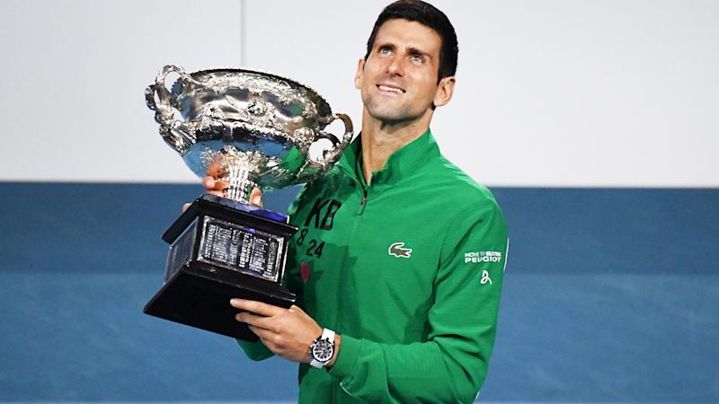 Novak Djokovic, pictured here after winning his eighth Australian Open crown in January.