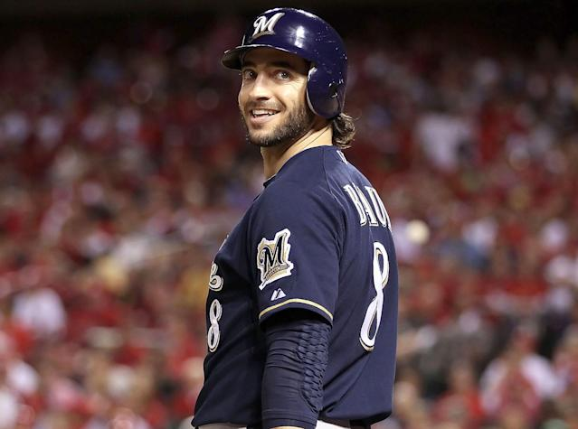 Ryan Braun #8 of the Milwaukee Brewers during Game Four of the National League Championship Series against the St. Louis Cardinals at Busch Stadium on October 13, 2011 in St Louis, Missouri. The Milwaukee Brewers defeated the St. Louis Cardinals 4-2. (Photo by Christian Petersen/Getty Images)