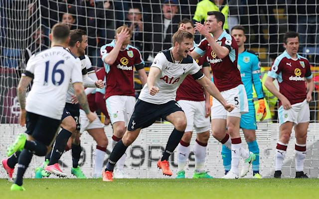 <p>Tottenham's Eric Dier celebrates scoring their first goal with Dele Alli as Burnley's Michael Keane looks dejected </p>
