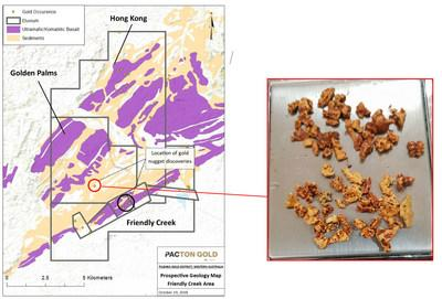 Figure 2. Golden Palms and adjacent Pacton tenements. Mineralized Mesoarchean basal unit, Western Australia MINEDEX gold occurrences, and location of recent gold nugget discoveries (circle). (CNW Group/Pacton Gold Inc.)