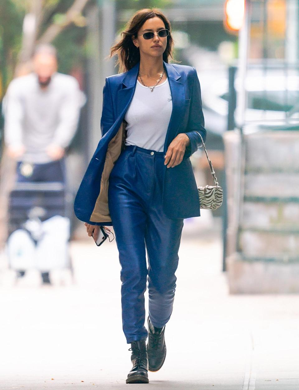 <p>Irina Shayk stuns in a bright blue suit on Friday in N.Y.C.</p>