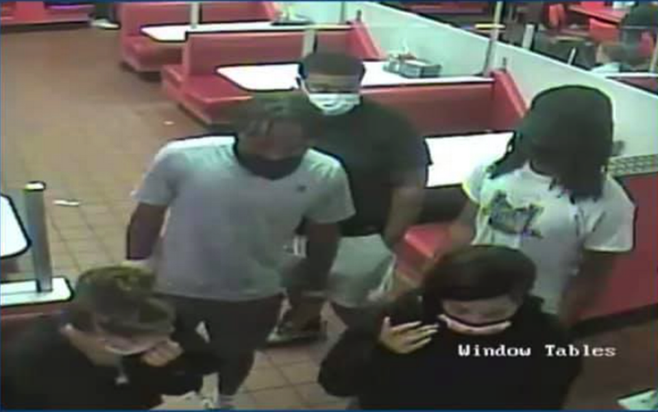 Police in New Jersey are searching for five suspects accused of abducting and assaulting a waitress.