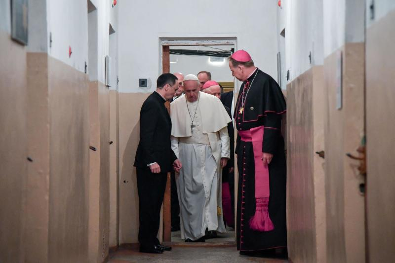 Pope Francis pays a visit to the Museum of Occupations and Freedom Fights, in Vilnius, Lithuania, Saturday, Sept. 22, 2018. Francis began his second day in the Baltics in Lithuania's second city, Kaunas, where an estimated 3,000 Jews survived out of a community of 37,000 during the 1941-1944 Nazi occupation. (Alessandro Di Meo/Pool Photo via AP)