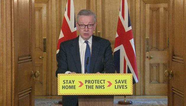 Cabinet Office minister Michael Gove during a coronavirus briefing in Downing Street