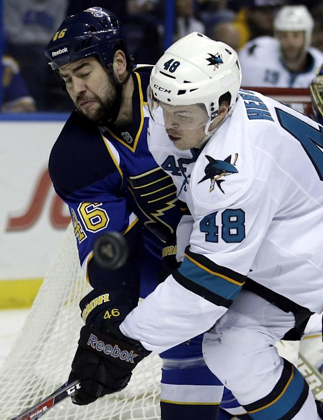 St. Louis Blues' Roman Polak, left, of the Czech Republic, and San Jose Sharks' Tomas Hertl, also of the Czech Republic, reach for a loose puck during the third period of an NHL hockey game Tuesday, Dec. 17, 2013, in St. Louis. The Sharks won 4-2. (AP Photo/Jeff Roberson)