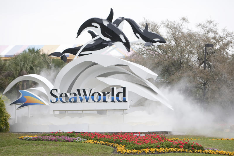 The sign at the entrance to SeaWorld on February 24, 2010 in Orlando, Florida