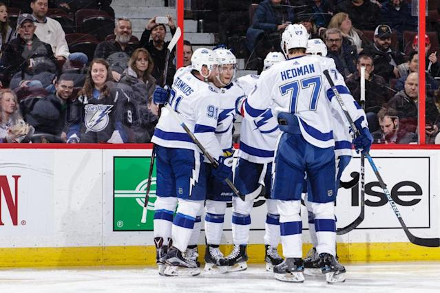 "The <a class=""link rapid-noclick-resp"" href=""/nhl/teams/tam/"" data-ylk=""slk:Tampa Bay Lightning"">Tampa Bay Lightning</a> could create something resembling a ""super team"" with the right deadline moves. (Jana Chytilova/NHLI via Getty Images)"
