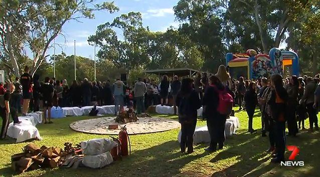 A large crowd paid tribute to the three victim's in a Gawler park on Friday. Photo: 7 News