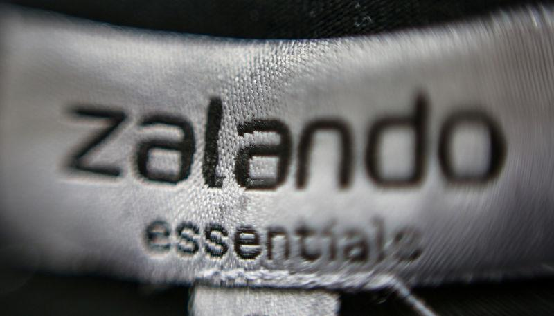 FILE PHOTO: A Zalando label is attached on an item of clothing in a showroom of the fashion retailer Zalando in Berlin