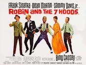 <p>Barbara Rush, Dean Martin, Bing Crosby, Frank Sinatra and Sammy Davis Jr. seen in the movie poster for their film Robin and the 7 Hoods in 1964.</p>