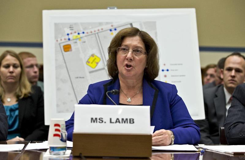 Charlene Lamb, deputy assistant secretary for international programs at the State Department's Bureau of Diplomat Security, testifies on Capitol Hill in Washington, Wednesday, Oct. 10, 2012, before the House Oversight and Government Reform Committee hearing to investigate the Sept. 11, 2012, attack on the American consulate in Benghazi, Libya, that resulted in the death of U.S. Ambassador Christopher Stevens and other Americans. (AP Photo/J. Scott Applewhite)