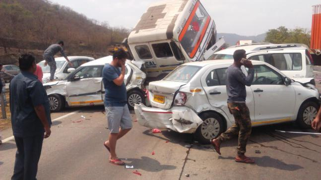 The accident on the Mumbai-Pune Expressway has left two people critically injured, while seven suffered minor injuries.