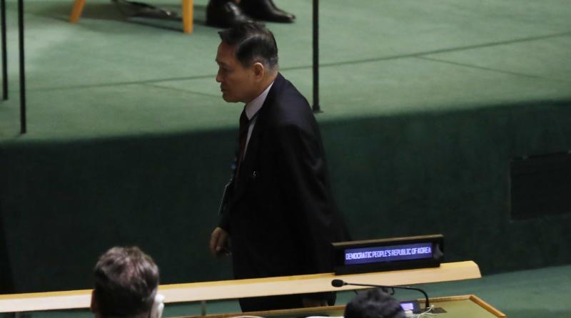 North Korea ambassador walks out of UN assembly in boycott of Trump's speech