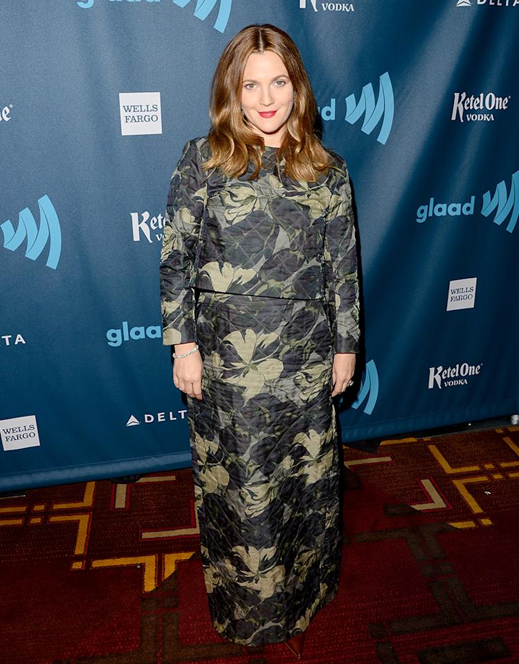 LOS ANGELES, CA - APRIL 20:  (EXCLUSIVE COVERAGE)  Actress Drew Barrymore arrives at the 24th Annual GLAAD Media Awards presented by Ketel One and Wells Fargo at JW Marriott Los Angeles at L.A. LIVE on April 20, 2013 in Los Angeles, California.  (Photo by Jason Merritt/Getty Images for GLAAD)