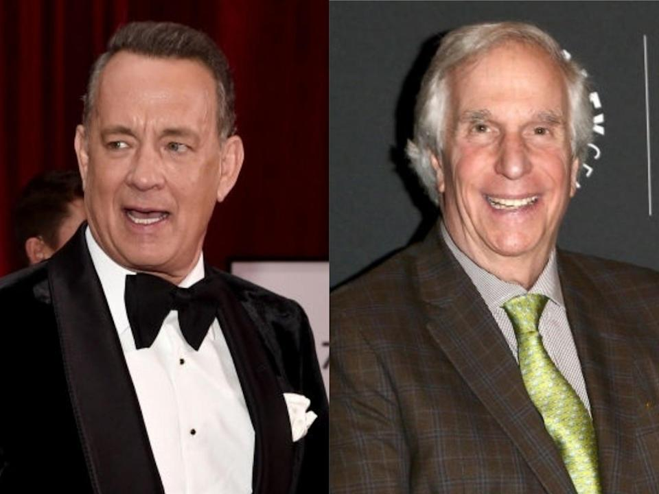 Tom Hanks and 'Happy Days' star Henry Winkler (Alberto E Rodriguez/Tommaso Boddi/Getty Images)