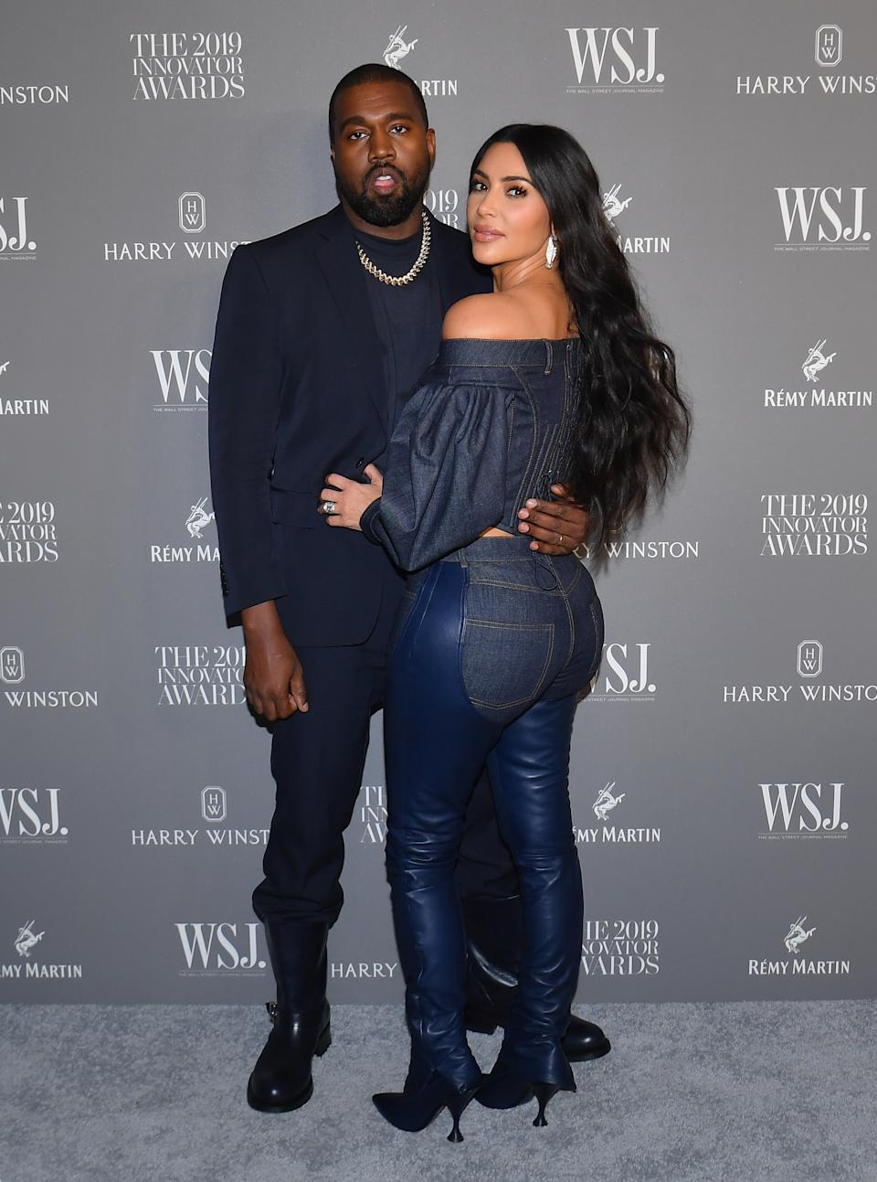 US media personality Kim Kardashian West (R) and husband US rapper Kanye West attend the WSJ Magazine 2019 Innovator Awards at MOMA on November 6, 2019 in New York City. (Photo by Angela Weiss / AFP) (Photo by ANGELA WEISS/AFP via Getty Images)