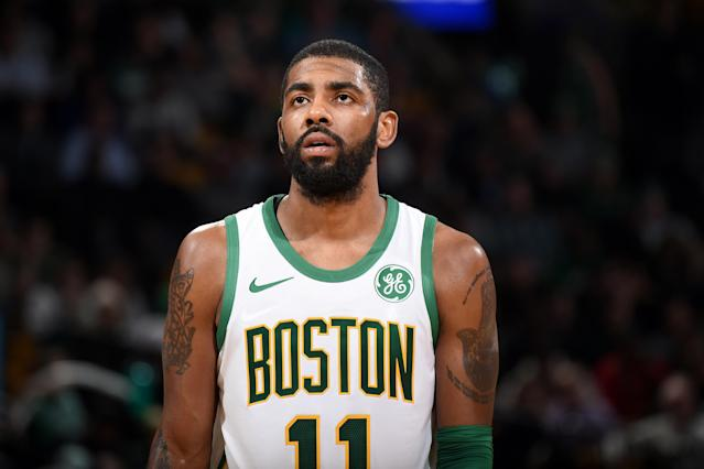 BOSTON, MA - DECEMBER 6: Kyrie Irving #11 of the Boston Celtics looks on during the game against the New York Knicks on December 6, 2018 at the TD Garden in Boston, Massachusetts. (Photo by Brian Babineau/NBAE via Getty Images)