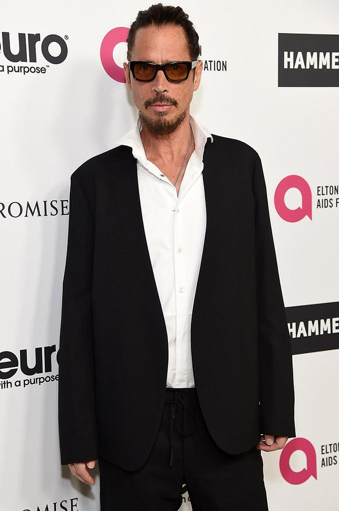 Chris Cornell attended Elton John's 70th birthday bash in Hollywood on March 25.