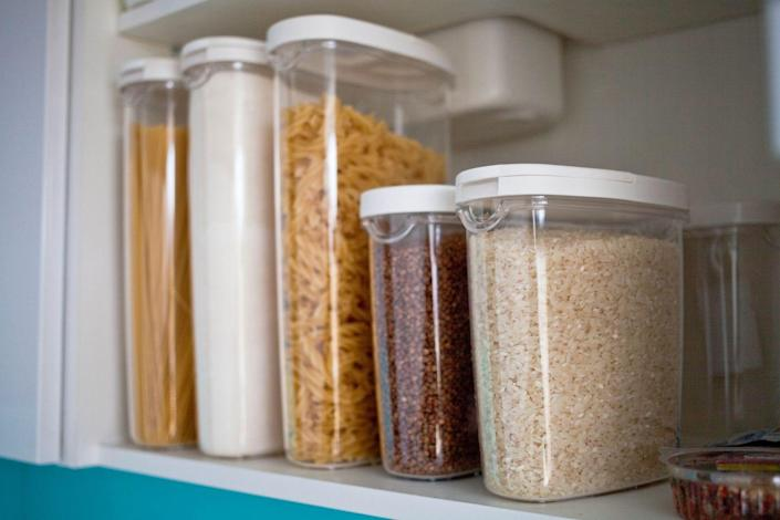 """<p>When it's time to buy containers and bins for your items, try to avoid patterned and cloth options, even if they are prettier. """"Only use clear containers for all your storage, whether it's indoors (organizing bins for a closet) or outdoors (garage storage containers for seasonal decor, for example),"""" explains Rosanna Hinde, professional organizer and owner of <a href=""""https://www.go-fergirl.com/"""" rel=""""nofollow noopener"""" target=""""_blank"""" data-ylk=""""slk:Go-Fer Girl"""" class=""""link rapid-noclick-resp"""">Go-Fer Girl</a>. Clear containers make it super easy to see exactly what's inside without opening anything up. </p>"""