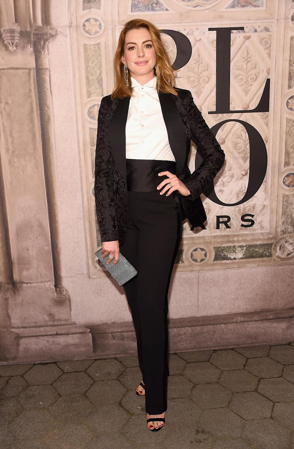 <p>The 'Les Mis' actress rocked up in an androgynous look. <em>[Photo: Getty]</em> </p>