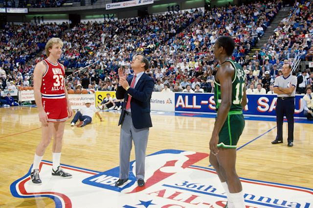 Eventual three-time winners Larry Bird and Craig Hodges squared off in the inaugural 3-point shooting contest. (Getty Images)