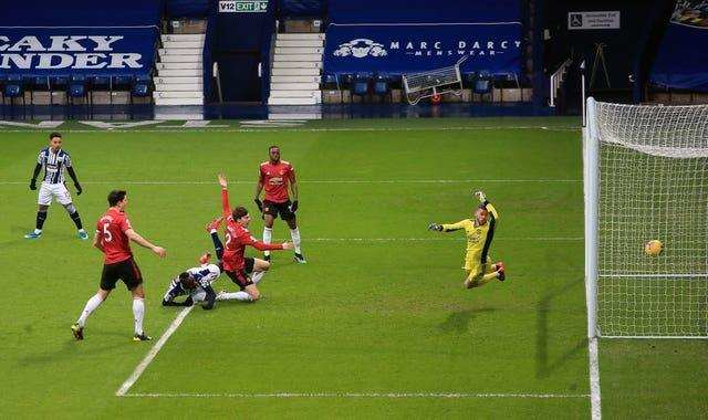 Mbaye Diagne (on the floor) gives West Brom an early lead