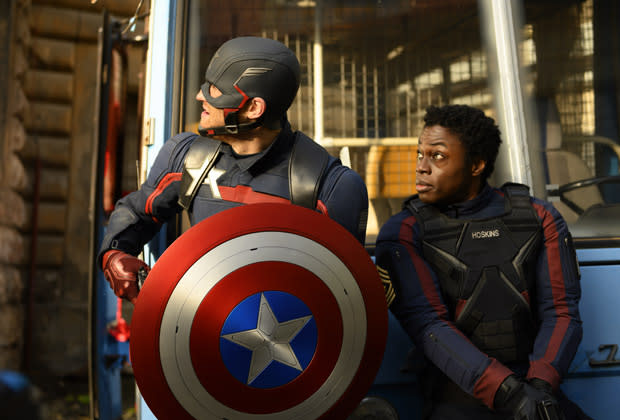 Wyatt Russel and Clé Bennet in The Falcon and the Winter Soldier