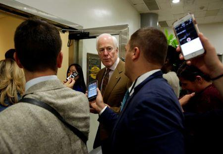 FILE PHOTO: Senate Majority Whip John Cornyn (R-TX) speaks to reporters on Capitol Hill in Washington, U.S., June 21, 2017.   REUTERS/Joshua Roberts