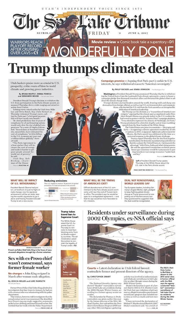 "<p>""The Salt Lake Tribune,"" published in Salt Lake City, Utah. (Newseum) </p>"