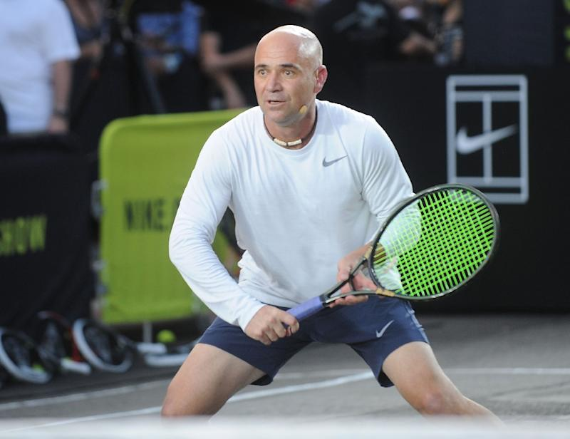 low priced e0235 0e2f5 Tennis player Andre Agassi attends Nike39s quotNYC Street Tennisquot