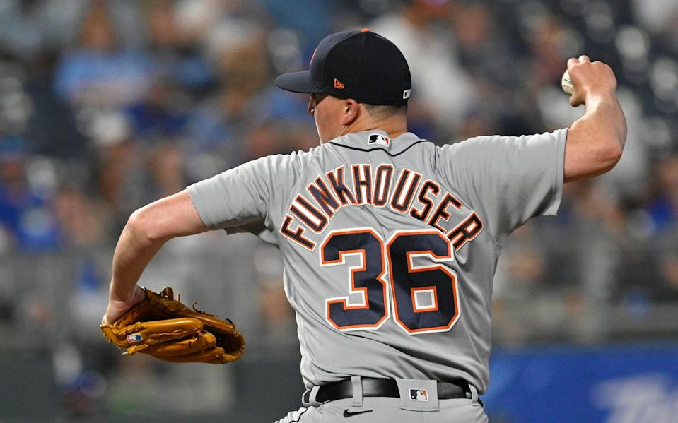 Detroit Tigers relief pitcher Kyle Funkhouser throws to a Kansas City batter during the fifth inning at Kauffman Stadium in Kansas City, Missouri, on Monday, June 14, 2021.