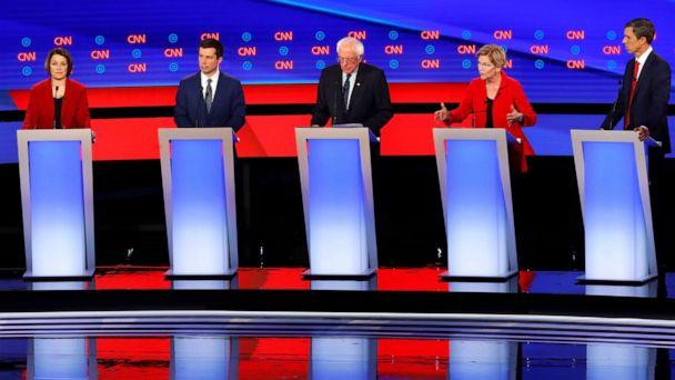 PHOTO:Sen. Candidates participate in the first of two Democratic presidential primary debates, July 30, 2019, in Detroit. (Paul Sancya/AP)