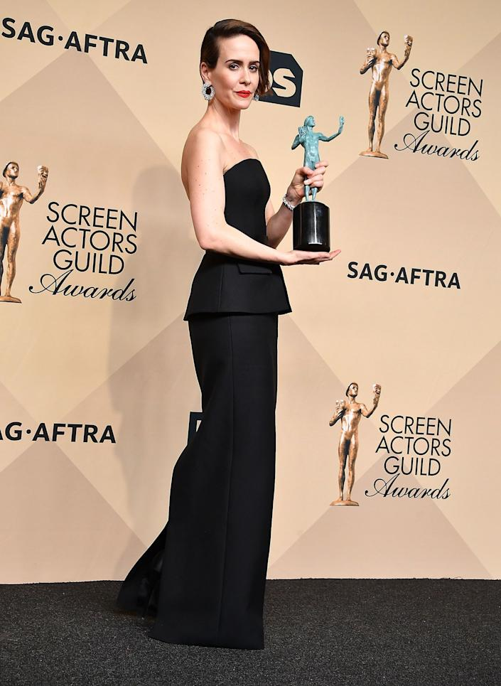 """Sarah Paulson addressed the ban during the23rd annual Screen Actors Guild Awards.<br /><br />""""I would like to make plea for everyone, if they can, any money they have to spare please donate to the ACLU to protect the rights and liberties of people across this country."""""""