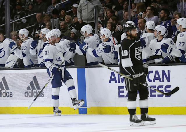 Tampa Bay Lightning's Steven Stamkos (91) celebrates his goal with teammates during the second period of an NHL hockey game against the Los Angeles Kings on Thursday, Jan. 3, 2019, in Los Angeles. (AP Photo/Marcio Jose Sanchez)