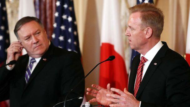 PHOTO: Secretary of State Mike Pompeo (left) and acting Defense Secretary Patrick Shanahan participate in a media availability at the Department of State on April 19, 2019, in Washington, D.C. (Mark Wilson/Getty Images, FILE)