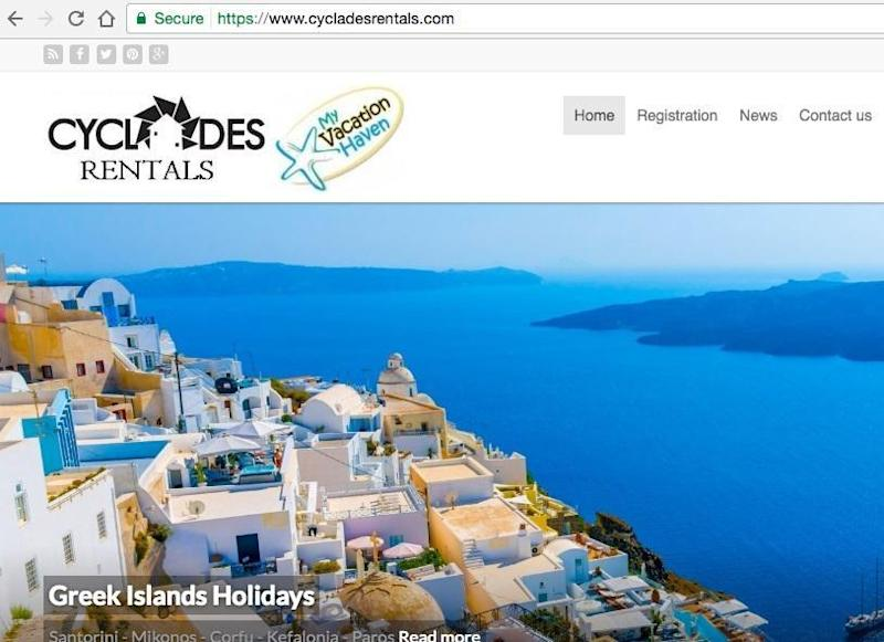 The homepage of the fake Cyclades Rentals website