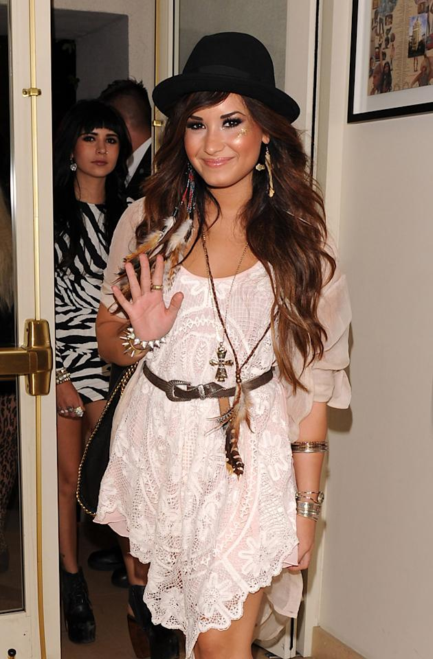 """""""Skyscraper"""" singer Demi Lovato stepped out for the Noon by Noor clothing line launch party Wednesday at the Sunset Tower Hotel in West Hollywood. The recently rehabbed star rocked a bohemian look. Hot ... or not? Jean Baptiste Lacroix/<a href=""""http://www.wireimage.com"""" target=""""new"""">WireImage.com</a> - July 20, 2011"""